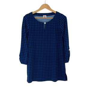 Anne Klein Small Blue Houndstooth Print Tunic Top